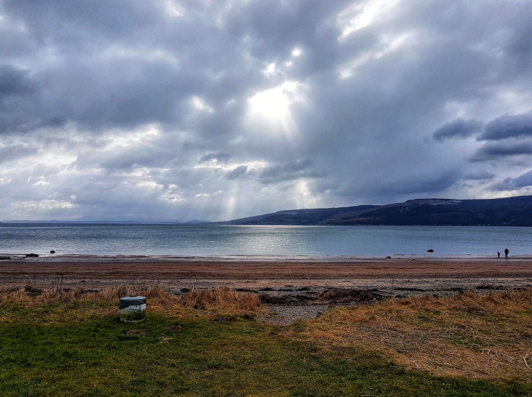Moody Sky at Lunderston Bay - Photo by Angela Kincaid - Click on the Twitter Link below to comment